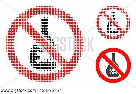 Forbidden Chemicals Halftone Dotted Icon. Halftone Pattern Contains Circle Dots. Vector Illustration