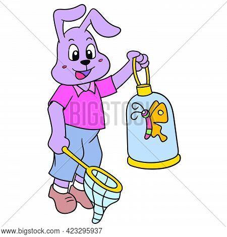 Rabbit Cubs Hunt Butterflies To Make Pets, Vector Illustration Art. Doodle Icon Image Kawaii.