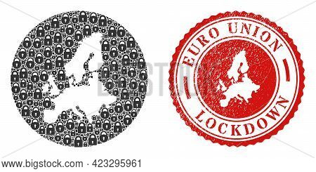 Vector Mosaic Euro Union Map Of Locks And Grunge Lockdown Seal. Mosaic Geographic Euro Union Map Des