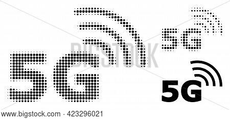 5g Symbol Halftone Dotted Icon. Halftone Pattern Contains Circle Dots. Vector Illustration Of 5g Sym