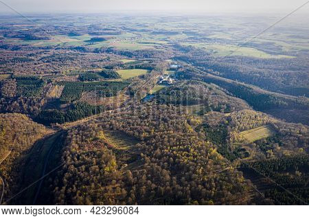 Aerial view of orval abbey in the forest, Villers-Devant-Orval, Belgium ardennes