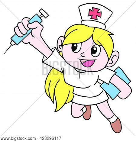 The Beautiful Yellow Blonde Haired Nurse Is Promoting The Vaccine Shot, Vector Illustration Art. Doo