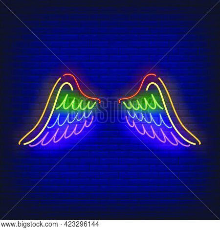 Wings With Lgbt Colors Neon Sign. Freedom, Tolerance, Discrimination Design. Night Bright Neon Sign,