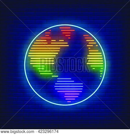 World Map With Lgbt Colors Neon Sign. Homosexuality, Tolerance, Discrimination Design. Night Bright