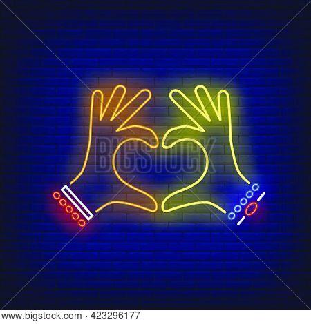 Woman Hands Showing Heart Gesture Neon Sign. Friendship, Love, Romance Advertisement Design. Night B