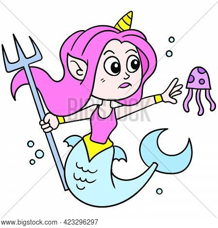 Beautiful Daughter Of God Lord Of The Sea Carrying A Spear Playing With Jellyfish, Vector Illustrati