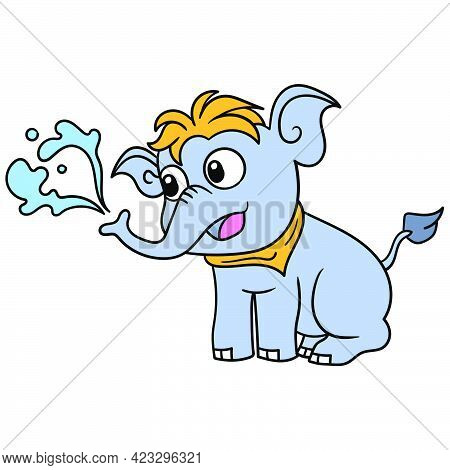 Cute Elephant Cub Sitting Bathing Playing Water, Vector Illustration Art. Doodle Icon Image Kawaii.
