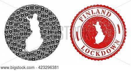 Vector Collage Finland Map Of Locks And Grunge Lockdown Stamp. Mosaic Geographic Finland Map Designe
