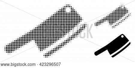 Butchery Knife Halftone Dotted Icon. Halftone Array Contains Round Points. Vector Illustration Of Bu