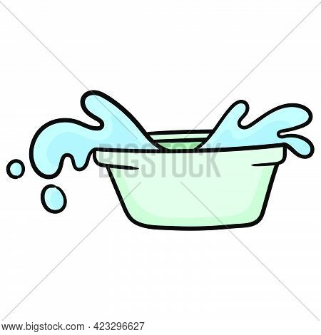 Basin Filled With Spilled Water. Carton Emoticon. Doodle Icon Drawing, Vector Illustration
