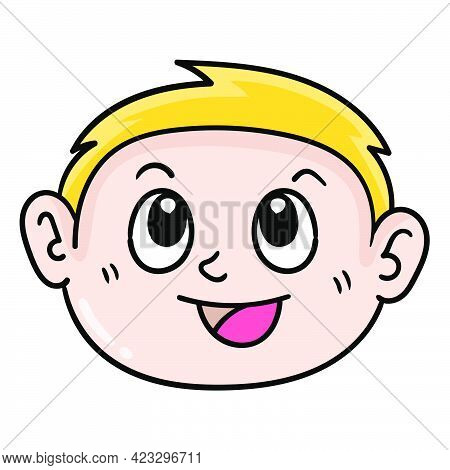 The Blonde Haired Boy Smiled Handsome. Carton Emoticon. Doodle Icon Drawing, Vector Illustration