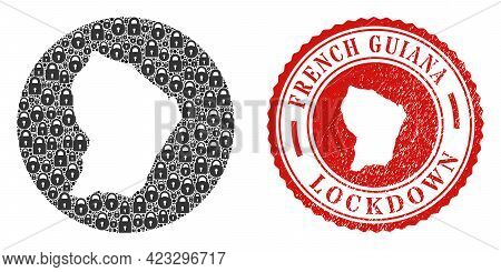 Vector Mosaic French Guiana Map Of Locks And Grunge Lockdown Stamp. Mosaic Geographic French Guiana