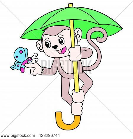 The Monkey Uses The Skydiving Parachute To Fly, Vector Illustration Art. Doodle Icon Image Kawaii.