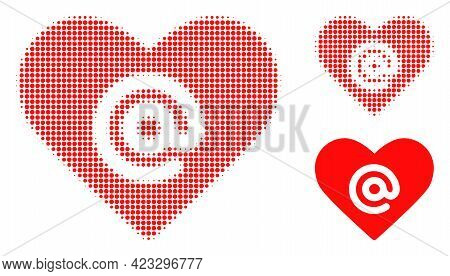 Dating Heart Address Halftone Dotted Icon. Halftone Array Contains Circle Pixels. Vector Illustratio