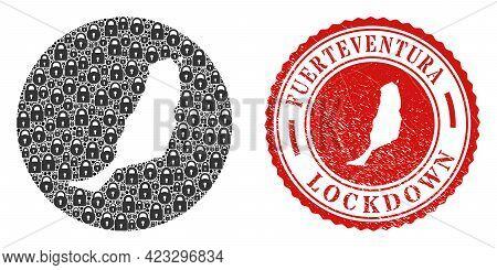 Vector Mosaic Fuerteventura Island Map Of Locks And Grunge Lockdown Seal Stamp. Mosaic Geographic Fu