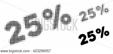 25 Percents Halftone Dotted Icon. Halftone Array Contains Round Elements. Vector Illustration Of 25