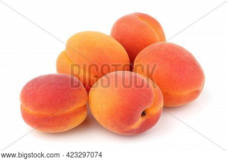 Apricots. Fresh Apricots Isolated On White Background.