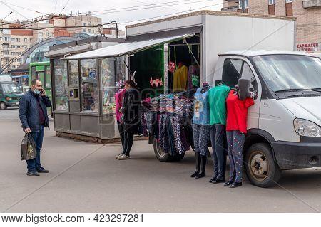 Saint Petersburg, Russia - 22 April 2021. Street Vendor Of Cloth With His Truck In Saint Petersburg