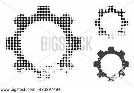 Damaged Gear Halftone Dotted Icon. Halftone Array Contains Round Elements. Vector Illustration Of Da
