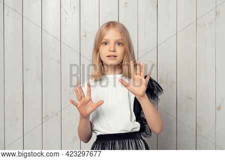 Worried And Concerned Blonde Teen Girl Looking With Frightened Expression, Clueless How Act, Feel Em