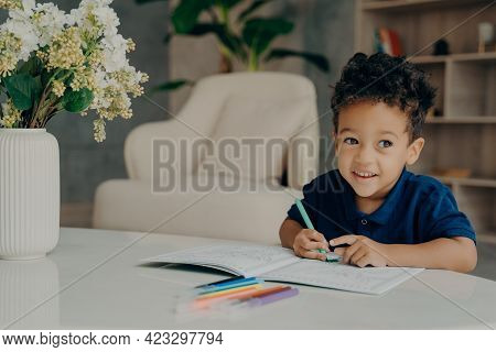 Happy Curly Mixed Race Boy Coloring Animals In Coloring Book With Felt Pens, Looking Aside And Smili