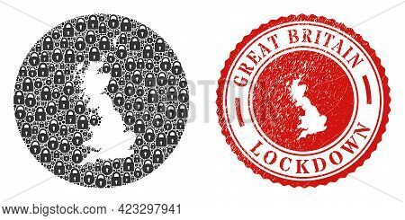 Vector Collage Great Britain Map Of Locks And Grunge Lockdown Stamp. Mosaic Geographic Great Britain