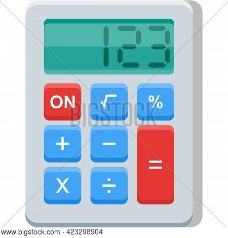 Calculator Vector Icon, Calculate Machine Illustration On White