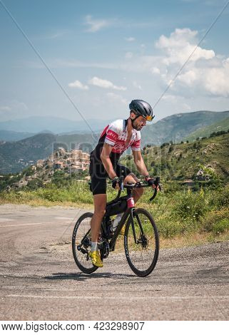 Speloncato, Corsica, France - 9th June 2021: Adrien Foix Competing In The 2021 Bikingman Corsica Rac