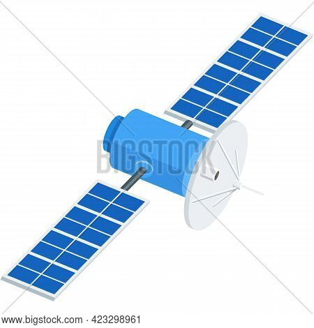 Vector Satellite Icon Space Communication Flat Station