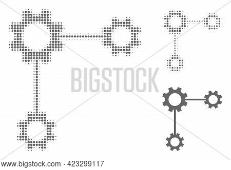 Gear Links Halftone Dotted Icon. Halftone Array Contains Round Pixels. Vector Illustration Of Gear L