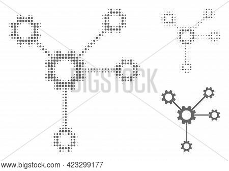 Gear Links Halftone Dotted Icon. Halftone Array Contains Circle Dots. Vector Illustration Of Gear Li