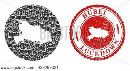 Vector Collage Hubei Province Map Of Locks And Grunge Lockdown Seal Stamp. Mosaic Geographic Hubei P