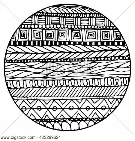 Doodle Surreal Fantasy Circle With Lines Coloring Page For Adults. Fantastic Psychedelic Graphic Sea