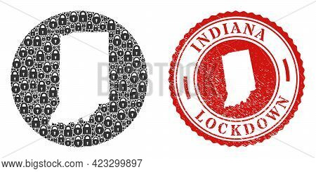 Vector Mosaic Indiana State Map Of Locks And Grunge Lockdown Stamp. Mosaic Geographic Indiana State