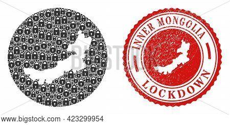 Vector Mosaic Inner Mongolia Map Of Locks And Grunge Lockdown Seal. Mosaic Geographic Inner Mongolia