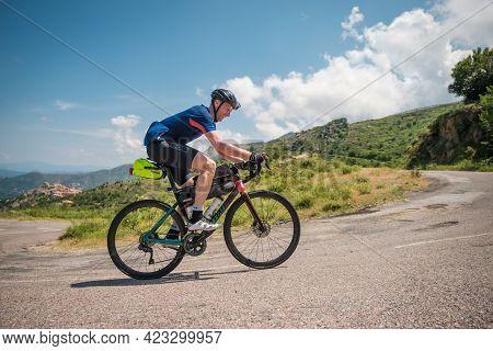 Speloncato, Corsica, France - 9th June 2021: Damian Grandjanny Competing In The 2021 Bikingman Corsi