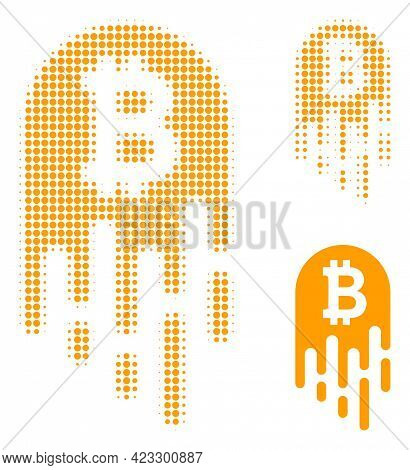 Melting Bitcoin Halftone Dotted Icon. Halftone Pattern Contains Round Points. Vector Illustration Of