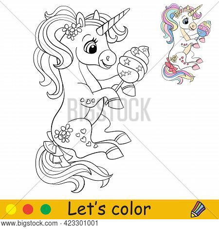 Cartoon Cute Sitting Unicorn With Cotton Candy. Coloring Book Page With Colorful Template For Kids.