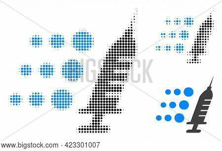 Fast Vaccine Halftone Dotted Icon. Halftone Pattern Contains Circle Elements. Vector Illustration Of