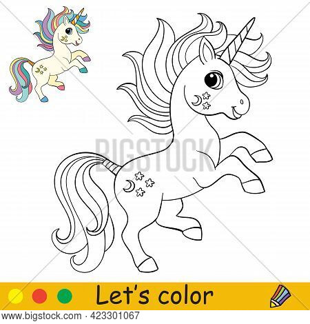 Cartoon Cute And Funny Jumping Unicorn. Coloring Book Page With Colorful Template For Kids. Vector I