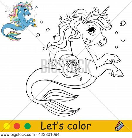 Cartoon Cute Sea Unicorn With Bubbles. Coloring Book Page With Colorful Template For Kids. Vector Is