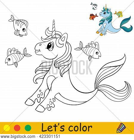 Cartoon Cute Sea Unicorn With Fishes. Coloring Book Page With Colorful Template For Kids. Vector Iso
