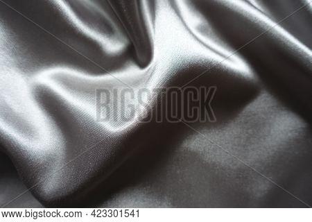 Draped Simple Glossy Gray Polyester Satin Fabric