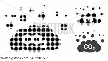 Co2 Gas Emission Halftone Dotted Icon. Halftone Array Contains Round Points. Vector Illustration Of