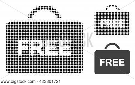 Free Case Halftone Dotted Icon. Halftone Array Contains Round Points. Vector Illustration Of Free Ca