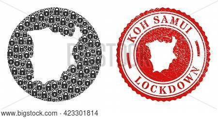 Vector Collage Koh Samui Map Of Locks And Grunge Lockdown Stamp. Mosaic Geographic Koh Samui Map Con