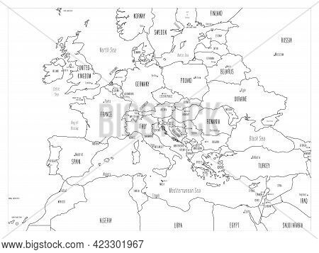 Political Map Of Continental Europe. Black Outline Hand-drawn Cartoon Style Illustrated Map With Bat
