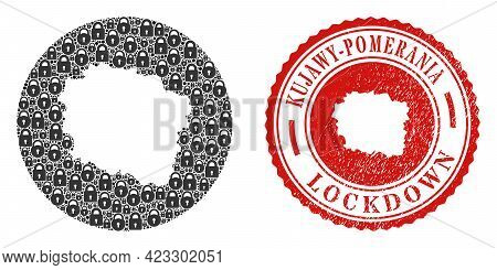 Vector Mosaic Kujawy-pomerania Province Map Of Locks And Grunge Lockdown Seal Stamp. Mosaic Geograph