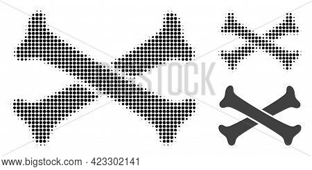 Crossing Bones Halftone Dotted Icon. Halftone Array Contains Circle Points. Vector Illustration Of C