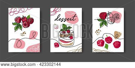 Raspberry Dessert Poster, Illustrations Set For Cafe Or Kitchen. Minimal One Continuous Line Design.